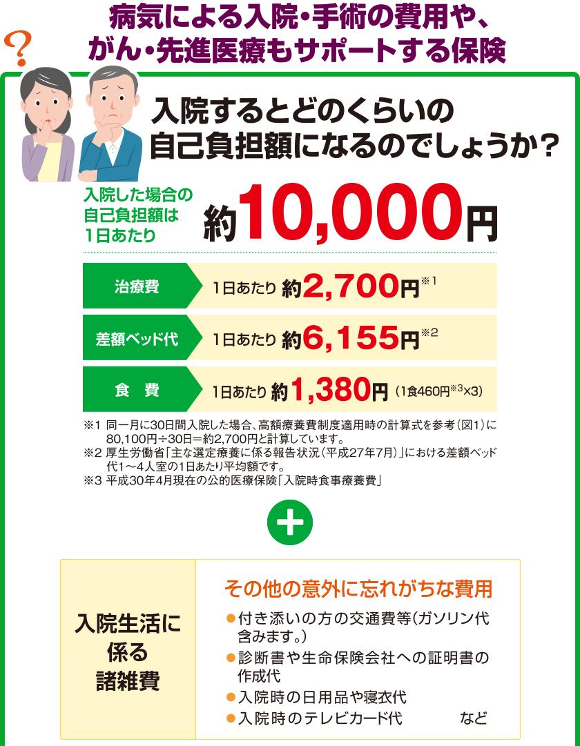 病気による入院・手術の費用や、がん・先進医療もサポートする保険